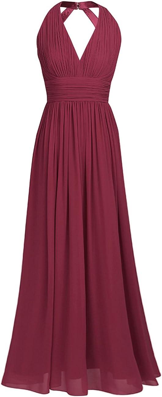 iEFiEL Damen Elegant festliches Kleid Abendkleid V-Ausschnitt Brautjungfer Cocktailkleid Chiffon Faltenrock Langes Abendkleider