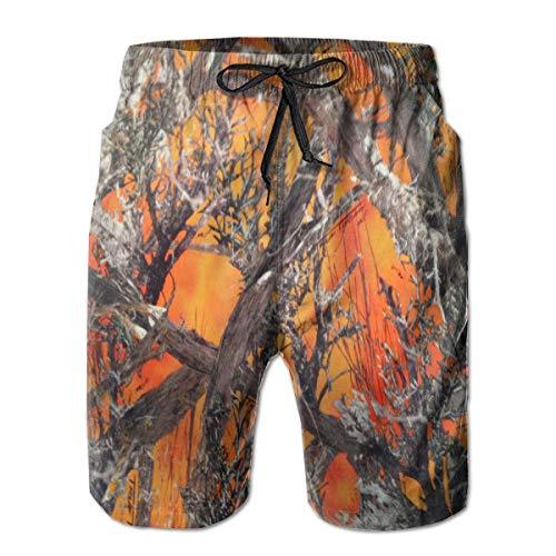Realtree Camo Orange Men's Beach Swimming Trunks Boxer Brief Swimsuit Swim Underwear Boardshorts with Pocket