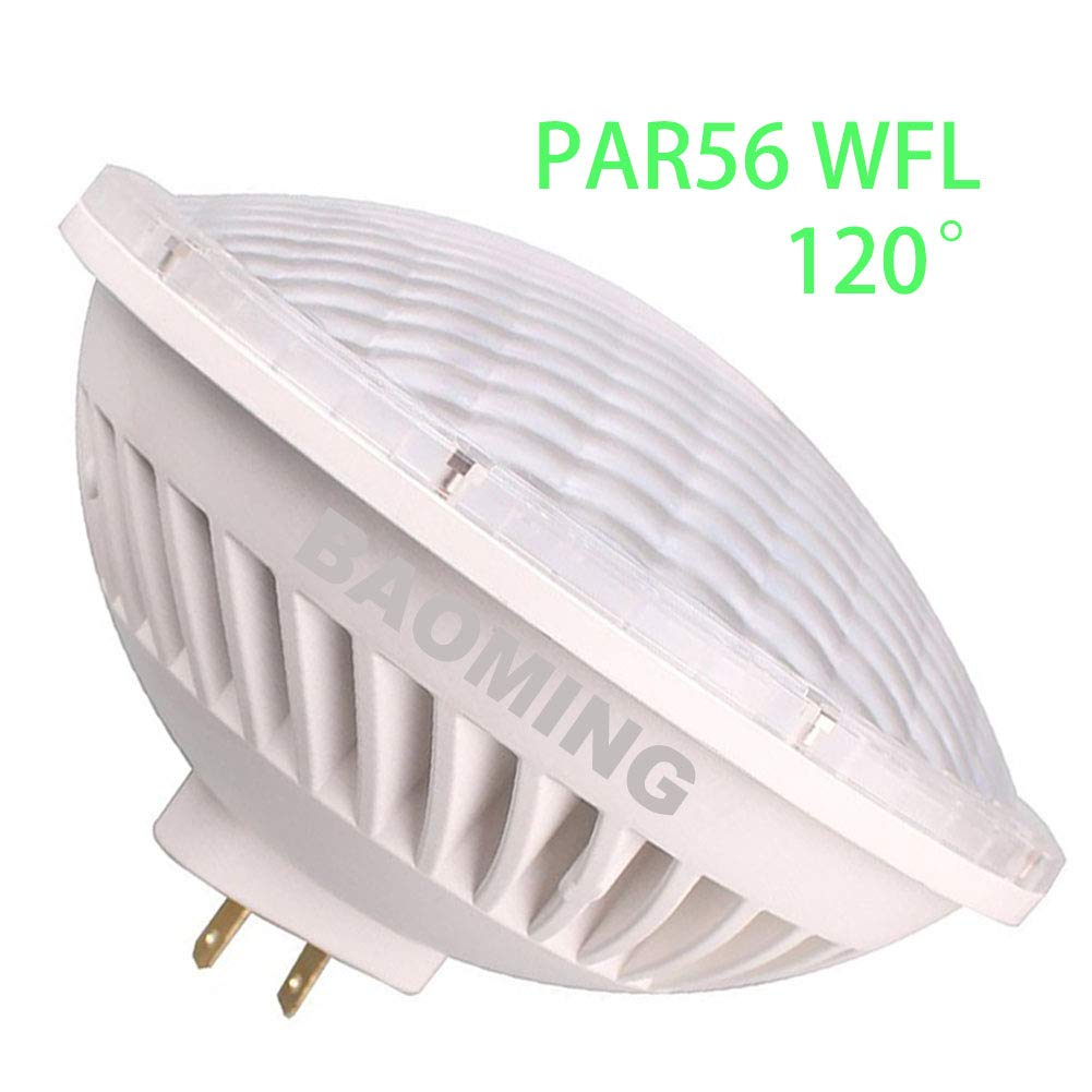 BAOMING PAR56 WFL LED Bulb Warm White (2700~3000K) Replace Standard PAR56 300 Watt Halogen Light 120°Deg AC/120V Base Type: GX16D