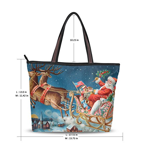 Reindeer Christmas Tote Large MyDaily Bag Handbag Santa Shoulder And Women IvgqwST0