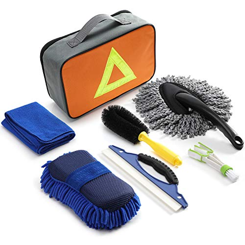 Chuntianli 7 in 1 Car Cleaning Washing Tools Kit with Bag,Tire Cleaning Brush|Double Head Car Vent Brush|Chenille Wash Sponge|Duster|Windshield Water Scraper|Wash Cloth for Auto Motorcycle Accessories