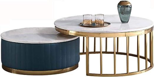 DGFTC-2 Mesa de Centro de diseño Simple Mesa de Centro Industrial Muebles Decorativos de mármol con Marco de Metal Montaje fácil para Sala de Estar Espresso: Amazon.es: Hogar