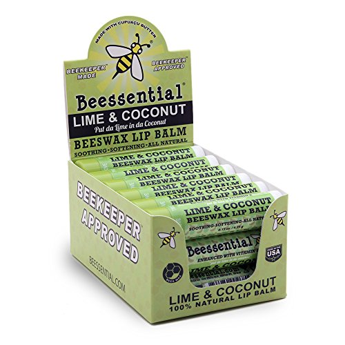 Beessential Natural Bulk Lip Balm 18 Pack For Men, Women, and Children. Great for Gifts, Showers, More (Coconut Lime)