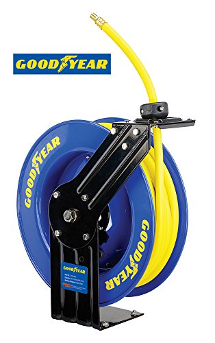 Goodyear L815153G Steel Retractable Air Compressor/Water Hose Reel with 3/8 in. x 50 ft. Rubber Hose, Max. 300PSI (Goodyear Air Compressor Hose compare prices)