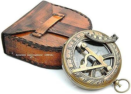 Neo Laiton Cadran solaire Boussole avec /étui en cuir et cha/îne Push Button