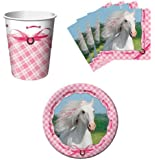Heart My Horse Pink Birthday Party Supplies Set Plates Napkins Cups Kit for 16 by Paper Art