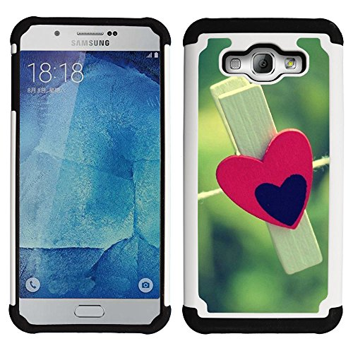 SAMSUNG Galaxy A8 / SM-A800 - Hybrid Heavy Duty Armor Shockproof Silicone Cover Rugged case (Love Clothespin)