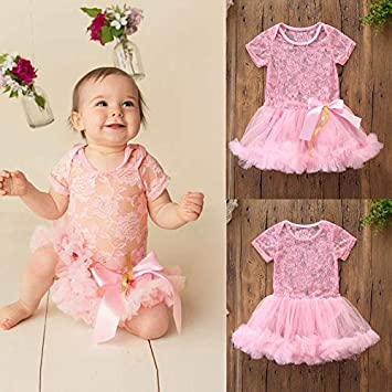 d8c5d72c3566 Jshuang Baby Girls Clothes Pink Hollow Bud Silk Gauze Short-Sleeved Lace  Tulle Romper Jumpsuit