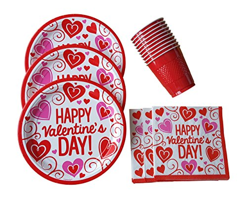 Valentines Day Party Supplies Set for 15 Guests Including: Plates, Napkins & Cups (Game Day Cup)