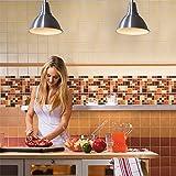 Peel and Stick Tile Backsplash-Kitchen Backsplash Peel and Stick Amber Wood Mosaic Tile Backsplash,Self-Stick Backsplash Tiles(4 Tiles)