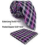 shlax&wing Men's Necktie Checked Purple Designer Tie Silk
