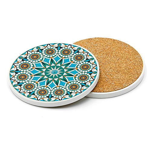 Absorbent Ceramic Stone Drink Coasters - Unique Coaster Set of 6 for Gifts - Turquoise (Coaster Sets Unique Drink)
