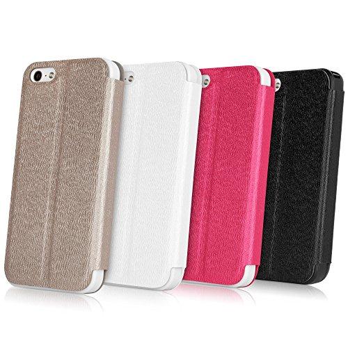 Coque Iphone se, BoxWave® [slimflip Étui support avec chargeur Porte-clés Bonus] Ultra Slim SE, avant et arrière pour Apple iPhone 5S, 5–Noir Jet