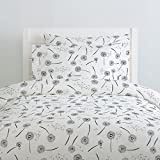 Carousel Designs Hand Drawn Dandelion Duvet Cover Queen/Full Size - Organic 100% Cotton Duvet Cover - Made in The USA