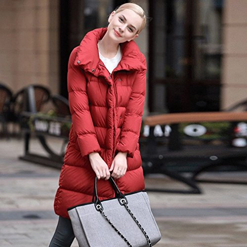 Color Section Fashion TT Solid Lapel Wild down Red Zipper Long Female Winter down Jacket Jacket Jacket qw4qz7Y
