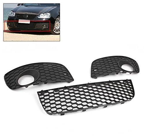 Lower Mesh Grille (ZMAUTOPARTS VW GTI Gli Jetta MK5 Lower Bumper Center Mesh Grille Grill+Fog Light Cover)