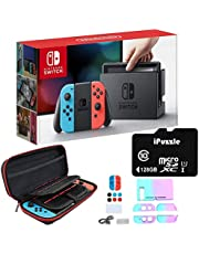 """Newest Nintendo Switch with Neon Blue and Neon Red Joy-Con - 6.2"""" Touchscreen LCD Display, 32GB Internal Storage, 802.11AC WiFi, Bluetooth 4.1 - Blue and Red - 128GB SD Card + 12-in-1 Carrying Case"""