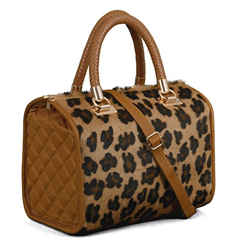 Made in Italy Ladies Cube Hobo Stepptasche Echt Quilted Nappa Leder Leo Fell