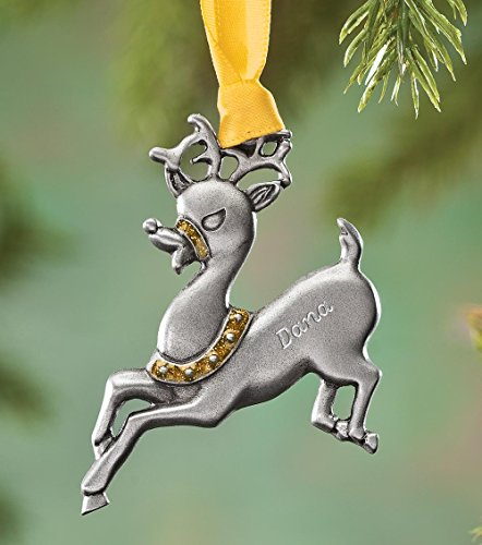 Personalized Reindeer Birthstone Ornament - November