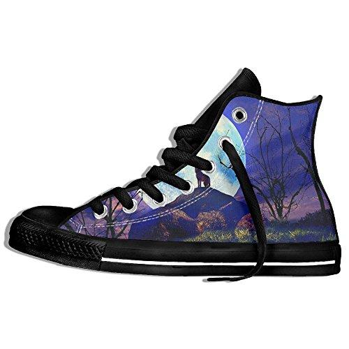 Classiche Sneakers Alte Scarpe Di Tela Anti-skid Luna Lupo Casual Da Passeggio Per Uomo Donna Nero