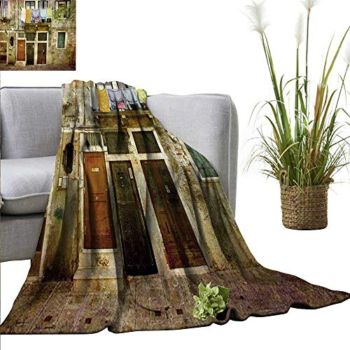 AndyTours Bed Blanket,Venice,Old Weathered Building Facade with Hanged Clothes Murano Island Grunge Architecture,Multicolor,for Bed & Couch Sofa Easy Care 60