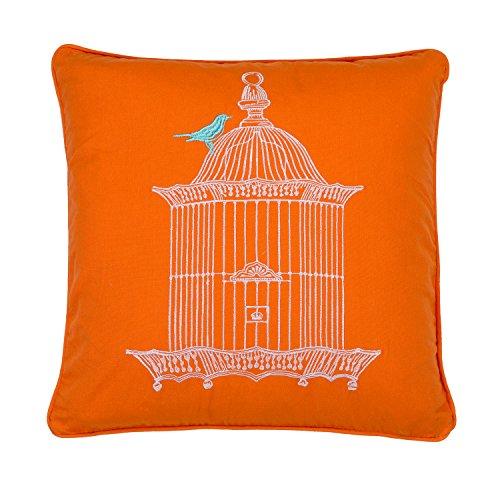 Levtex home Abigail Birdcage Pillow, 18×18, Orange