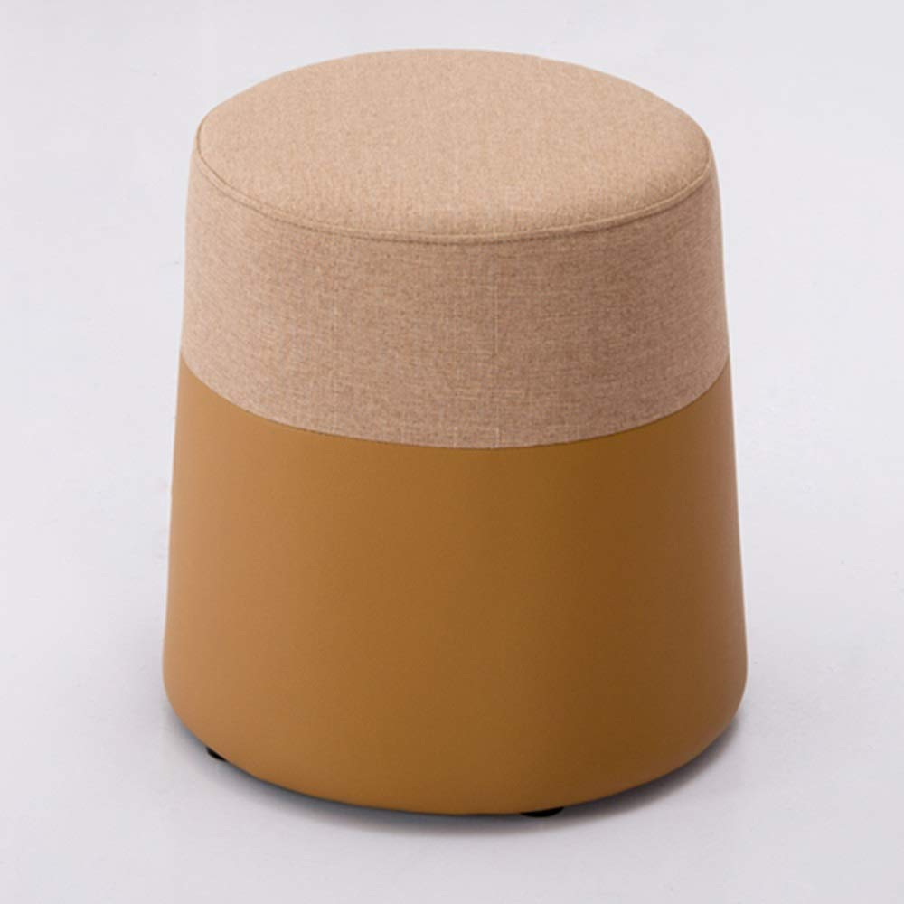 B LJJL Stool, Rainbow Stool Round Stool Fabric Sofa Bench Dressing Table Stool Suitable for Bedroom Living Room 2 color Removable and Washable 15  × 15.7  (color   B)