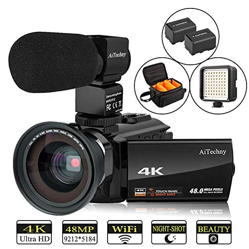 "Video Camera 4K Camcorder Vlogging Camera for YouTube AiTechny Ultra HD 48MP Digital WiFi Camera 3.0"" IPS Touch Screen IR Night Vision 16X Digital Zoom Recorder with Microphone, Wide Angle Lens from AiTechny"