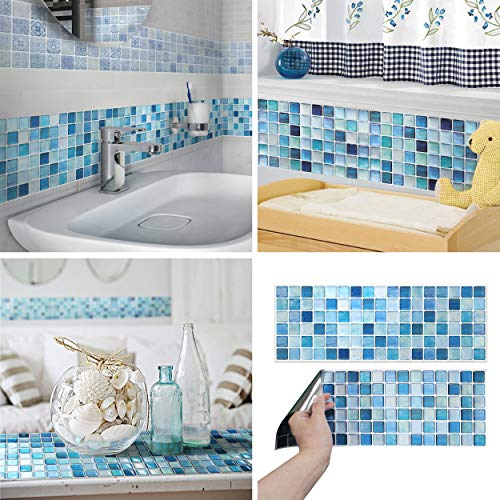 Mosaic Tile Decorative Cut - BEAUSTILE Decorative Tile Stickers Peel and Stick Backsplash Fire Retardant Tile Sheet (2pcs) (N.Blue)