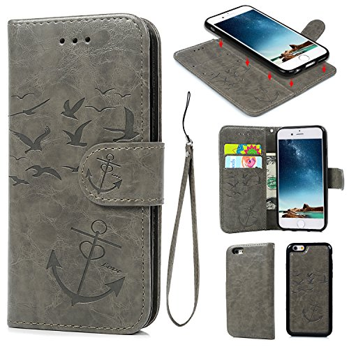 iPhone 6 6S Wallet Case, iPhone 6 6S Case PU Leather Embossed Mandala Florals TPU Cover Magnetic Detachable Wallet Card Slots Wrist Strap Case for iPhone 6 6S 4.7 inch (Seagull Anchor -Gray)