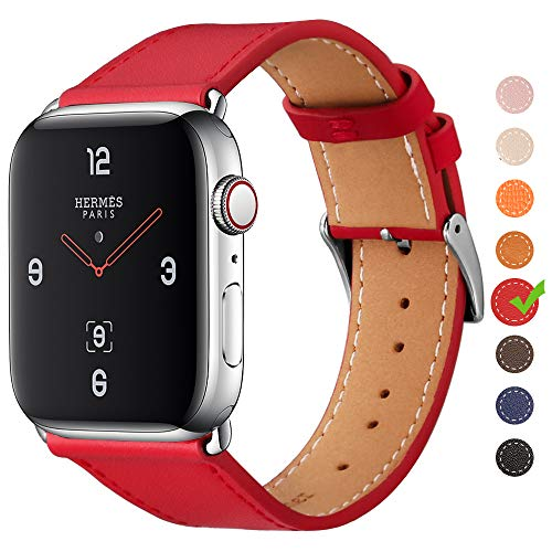 Finetop Compatible with Apple Watch Band(38,40,42,44mm),Premium Genuine Leather Replacement Band with Stainless Steel Adapter
