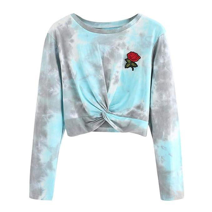 Lenfesh Mujeres Camisas Rose Bordado Sudadera Blusa de Gasa Casual Blusa Elegante con Manga Larga Camiseta Cuello Redondo de Mujer: Amazon.es: Ropa y ...