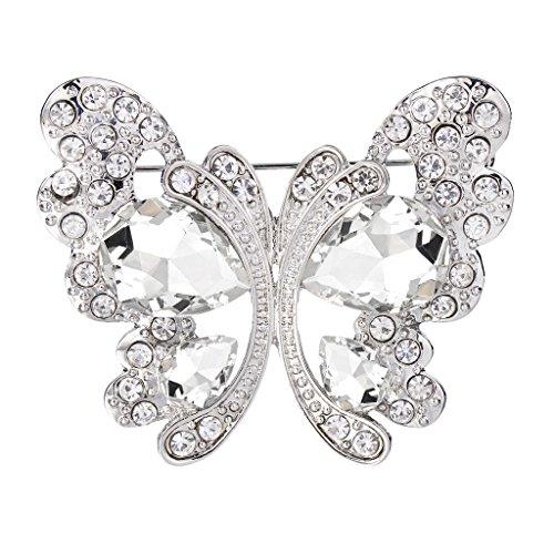BriLove Women's Wedding Bridal Crystal Teardrop Butterfly Brooch Pin Clear Silver-Tone (Silver Tone Butterfly Brooch Pin)