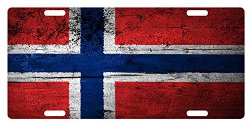 Norway Flag Custom License Car Truck Plate National Patriotic Emblem Wood Version (Car Flag Custom)