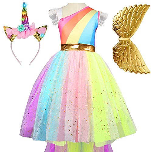 Girls Unicorn Dress Princess Tutu Rainbow Skirts with Unicorn Headband and Wings Birthday Wedding Party (5-6 Years(Tag 130), Noble Exquisite Unicorn(with Headband + Wing))]()