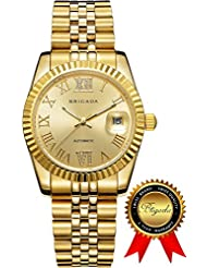 BRIGADA Swiss Watches Luxury Gold Watches for Men, Nice Automatic Hollow Mechanical Whole Gold Mens Watch, Great...