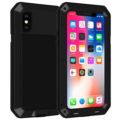 iPhone Xs Case,Gorilla Glass Luxury Aluminum Alloy Protective Metal Extreme Shockproof Military Bumper Heavy Duty Cover Shell Case Skin Protector for Apple iPhone Xs (Black)