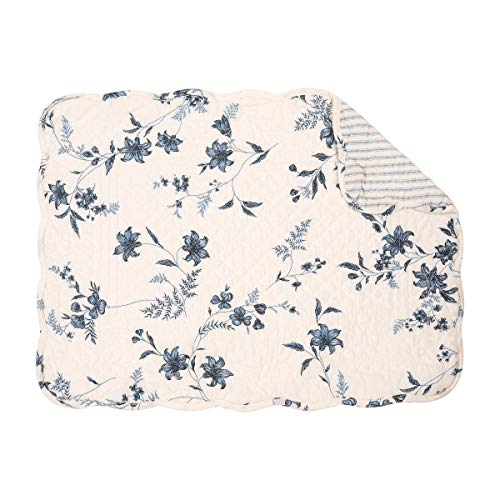 C&F Home Sarah Blue White Floral Flower Place Mats Rectangular Cotton Quilted Reversible Washable Placemat Set of 6 Rectangular Placemat Set of 6 Sarah