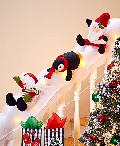 LCI Decorative Holiday Snow Surfing Set Handrail Wrap 5 Ft. Penguin Santa Snowman
