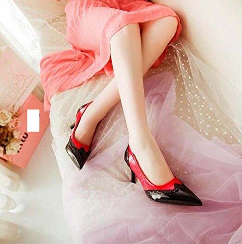 y de Negro mujer Rojo de Rojo Heel sintético de para vestido cuero Joint Summer Stiletto Blanco fiesta noche Split Zapatos Spring gUZdwg