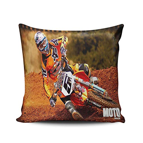 (WULIHUA Decorative Throw Pillow Covers Motocross Free Style Fine Zipper Pillowcases Throw Pillow Cushion Covers for Sofa Double Sides Printed Square 16x16 Inches)