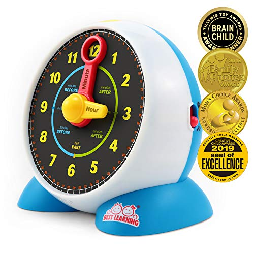 BEST LEARNING Learning Clock - Educational Talking Learn to Tell Time Light-Up Toy with Quiz and Sleep Mode Lullaby Music for Toddlers & Kids Ages 3 to 6 Years Old (Clock Gears Old)