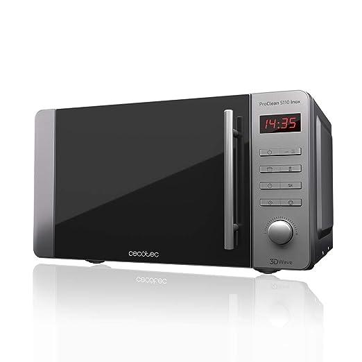 Cecotec Microondas con Grill ProClean 5110 Inox. Capacidad de 20l, Revestimiento Ready2Clean, 700 W de Potencia, Grill 800W, 5 Niveles Funcionamiento, ...