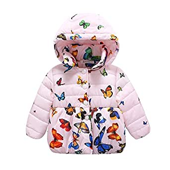 Weixinbuy Baby Girls' Infant Toddler Winter Warm Butterfly Print Hooded Outwear 1-2 Years Pink