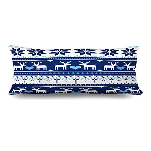 Nordic Reindeer Sweater (Ahawoso Zippered Body Pillow Cover 20x60 Inches Blue Nordic Fancywork Scandynavian Pattern Deer Vintage Navy Heart Norway Reindeer Sweater Christmas Decorative Cushion Case Home Decor)