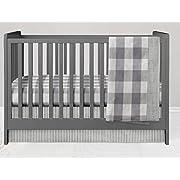 Crib Bedding Set - 3 Piece Grey Buffalo Plaid and Ticking Stripe Bedding Set by Twig + Bird - Handmade in Amercia
