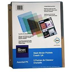 Filexec Binder Pocket, 3-Hole Punched, Letter Size, Assorted (6 Packs of 5) (50105-30202)