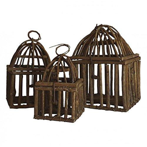 L'Héritier Du Temps Set de 3 Maisons Volières à Poser ou Cages à Oiseaux Carrées à Suspendre en Rotin 20x20x29cm L' Héritier Du Temps