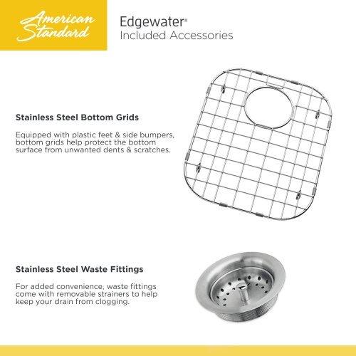 American Standard 18SB.9252211.075 Edgewater Zero Radius Dual Mount 25x22 single Bowlwithgrid & Drain, Stainless Steel by American Standard (Image #3)