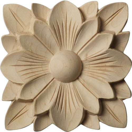 Ekena Millwork ROS03X03SPRW Springtime Rosette, 3 1/2-Inch x 3 1/2-Inch x 1/2-Inch, Rubberwood